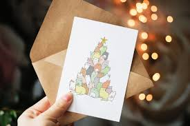 cat christmas card funny christmas card christmas tree cute
