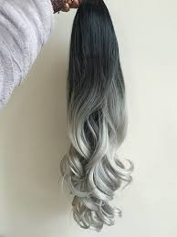 silver hair extensions dip dye clip in hair extensions ombre 6 pcs