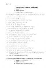 english teaching worksheets prepositional phrases
