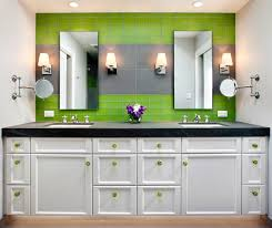 bathroom rectangular bathroom mirror frame gree glass tile