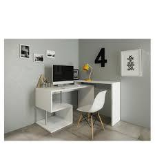 x bureau bureau angle 140 130 x 60 x 88 cm blanc laqué meubles à bon prix