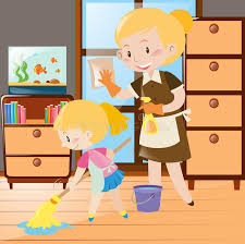 clean the house mother and daughter cleaning the house stock vector illustration