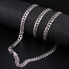 white gold fashion necklace images Robira new arrivals men 5mm full sideways gold necklaces 18k white jpg