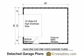detached garage floor plans 18x20 1 car detached garage plans