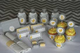 yellow and gray baby shower yellow and grey chevron baby shower printable party kit