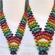 wood beaded necklace images Wooden bead necklaces rainbow color wrapted wooden bead jpg