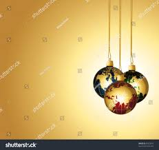elegant holiday background golden globes ornaments stock vector