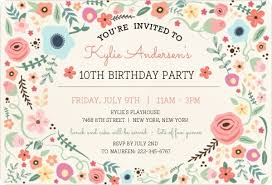 birthday party invitations beautiful floral frame birthday party invitation kids birthday