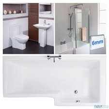1670mm right hand l shape shower bath l shaped bathroom suite more information combine the luxurious 1700 right hand l shape shower bath with the sq suite for a stunning complete bathroom design 1670mm right hand