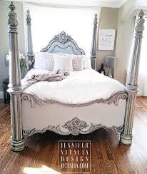 sold queen poster bed handpainted gray romantic bed frame deposit