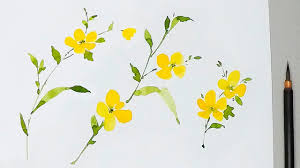 yellow flowers lvl2 watercolor tutorial how to paint yellow flowers