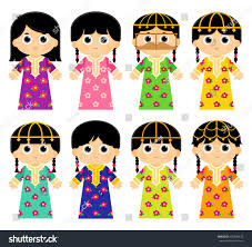 Traditional by Set Girls Wearing Old Traditional Colorful Stock Vector 625640672