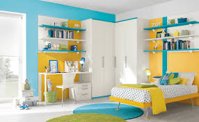 awesome kid blue and orange bedroom decoration using navy blue