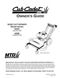 cub cadet lawn mower 833r user guide manualsonline com