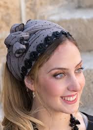 polka dot hair unique polka dot headband tichel with black flowers modli