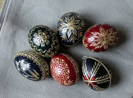 happy easter traditional of decorating eggs in slovakia