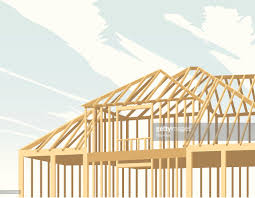 a cartoon image of a house being built with wood vector art