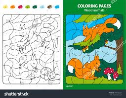wood animals coloring page kids squirrels stock vector 460725226