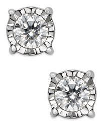 diamond stud earring diamond stud earrings 1 5 ct t w in sterling silver earrings