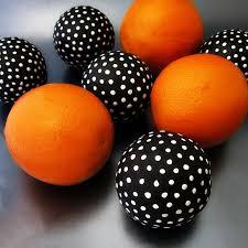 black and white handmade papier mache accent balls set of five