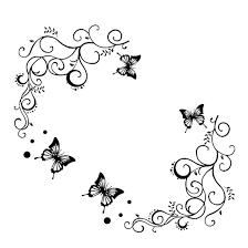 flying butterfly vine pattern wall sticker decal