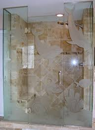 Sea Shower Doors Etched Glass Shower Doors Bonita Springs Florida Showers And