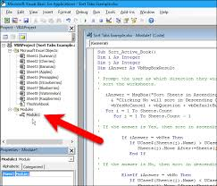 how to sort worksheet tabs in alphabetical order in excel