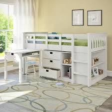 Raised Desk Shelf Bedroom White Wooden Loft Bed With Desk And Small Stool Combined