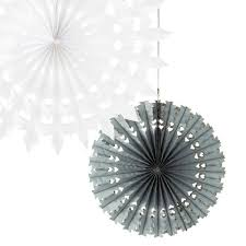 3 silver grey white tissue paper fan decorations pipii