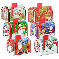 bulk christmas prints mailbox shaped tins with lids at dollartree com