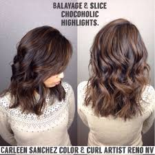 mill chocolate balayage and slice techniques used for this lob