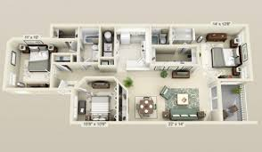 Bedroom 3d Design 3 Bedroom Apartment House Plans