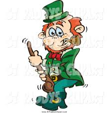 vector clip art of a st paddys day leprechaun holding a shalaylee