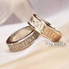 wedding rings with names crafted personalized message or name ring in 14k gold by