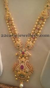 fashion long gold necklace images Trendy cz sets by sri mahalaxmi jewellers peacocks emeralds and jpg