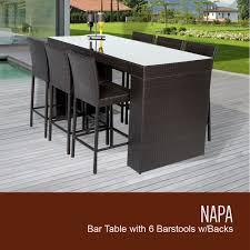 Bar Patio Table Napa Bar Table Set With Barstools 7 Outdoor Wicker Patio