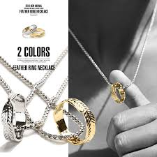 accessories ring necklace images Clothes unit necklace men 39 s feather ring accessories pendant jpg