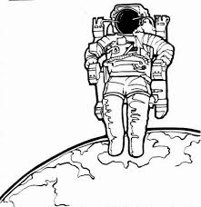 astronaut coloring page an astronaut and his space chair on the earth orbit coloring page