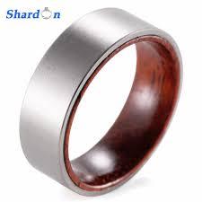 mens wood wedding bands shardon 8mm titanium and koa wood ring with matte finishing mens