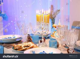 hanukkah decorations sale beautiful table setting hanukkah living room stock photo 520516189