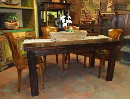 dining room rustic wood dining table with grey ceramic floor and