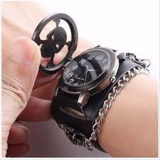mens bracelet wrist watches images Vintage punk gothic skull case leather band men bracelet quartz jpg