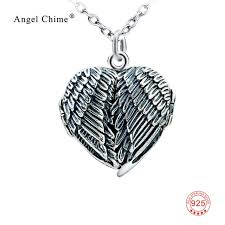 silver wing necklace images 100 real 925 sterling silver heart locket photo frame pendants jpg
