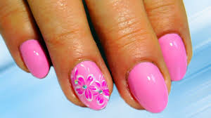 small pink flowers top amazing nail design nice and simple nail