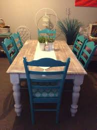 Teal Dining Table Interesting To Paint The Chairs A Different Color Home Decor
