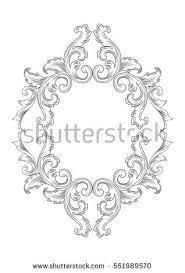 baroque rococo mirror frame decor vector stock vector 551989570