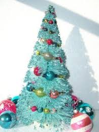 vintage bottle brush christmas tree with mercury glass balls and