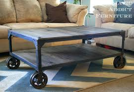 Wood Pallet Furniture Living Room Furniture Industrial Coffee Table With Wheels Ideas Industrial
