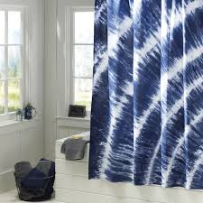 tatum tie dye shower curtain navy pbteen