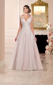 wedding dress a line a line wedding dress with illusion neckline stella york